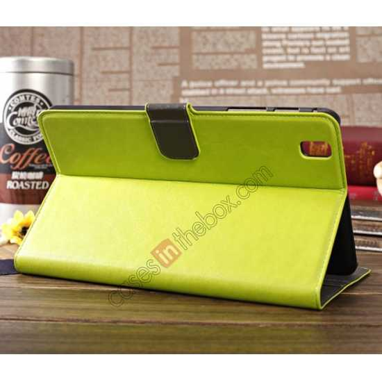 discount Luxury Crazy Horse Pattern Leather Stand Case for Samsung Galaxy Tab Pro 8.4 T320 - Green