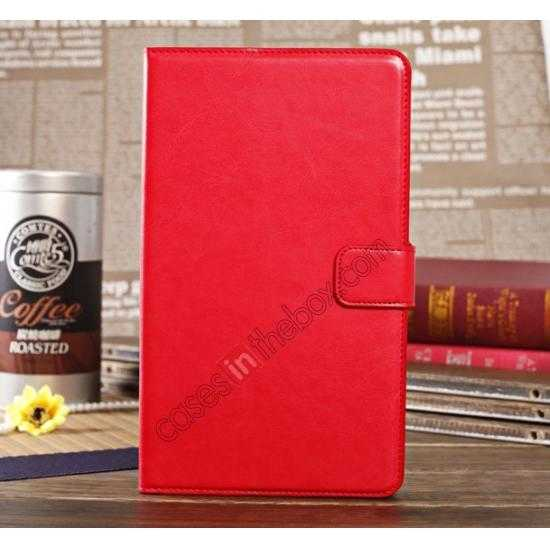 wholesale Luxury Crazy Horse Pattern Leather Stand Case for Samsung Galaxy Tab Pro 8.4 T320 - Red