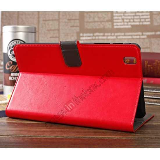 discount Luxury Crazy Horse Pattern Leather Stand Case for Samsung Galaxy Tab Pro 8.4 T320 - Red