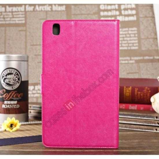 discount Luxury Crazy Horse Pattern Leather Stand Case for Samsung Galaxy Tab Pro 8.4 T320 - Rose red