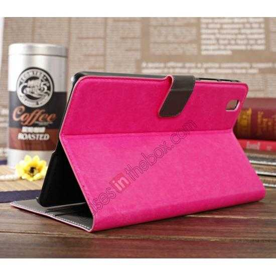 best price Luxury Crazy Horse Pattern Leather Stand Case for Samsung Galaxy Tab Pro 8.4 T320 - Rose red