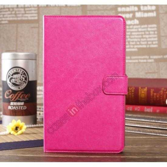 wholesale Luxury Crazy Horse Pattern Leather Stand Case for Samsung Galaxy Tab Pro 8.4 T320 - Rose red