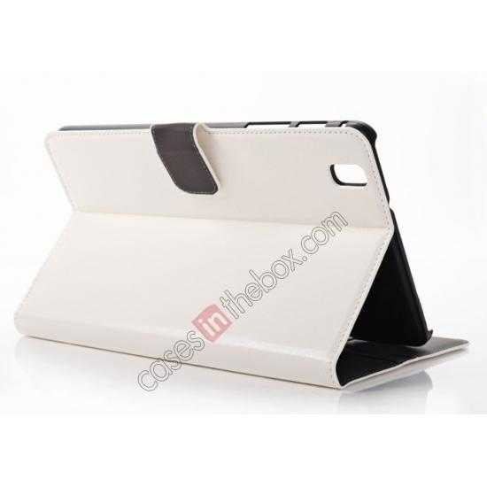 wholesale Luxury Crazy Horse Pattern Leather Stand Case for Samsung Galaxy Tab Pro 8.4 T320 - White