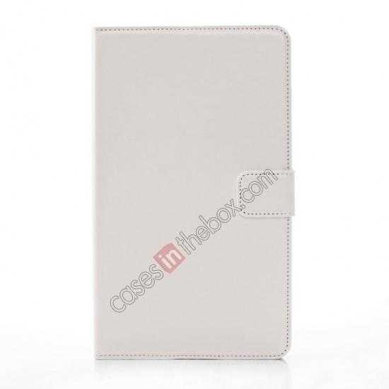 cheap Luxury Crazy Horse Pattern Leather Stand Case for Samsung Galaxy Tab Pro 8.4 T320 - White