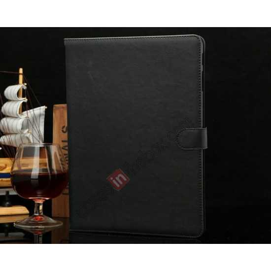 wholesale Luxury Crazy Horse Texture Leather Stand Case for Samsung Galaxy Tab Pro 10.1 T520 - Black
