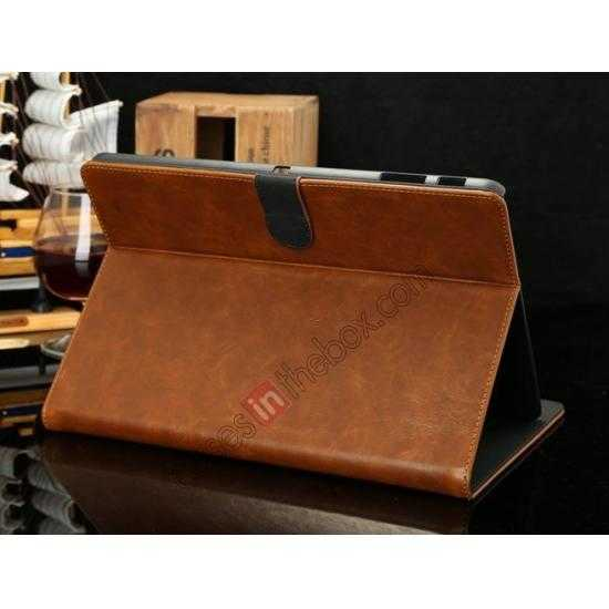 cheap Luxury Crazy Horse Texture Leather Stand Case for Samsung Galaxy Tab Pro 10.1 T520 - Brown