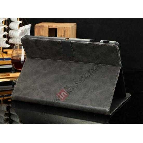 cheap Luxury Crazy Horse Texture Leather Stand Case for Samsung Galaxy Tab Pro 10.1 T520 - Grey