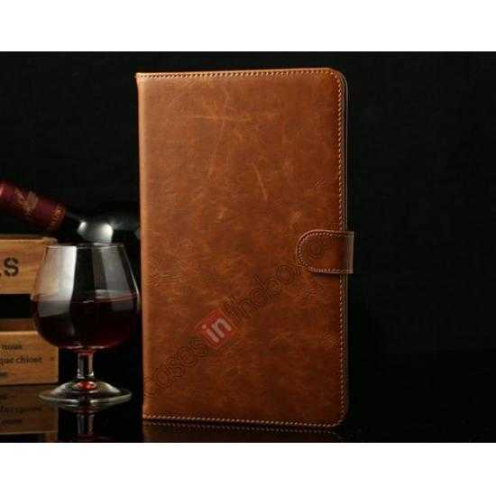 wholesale Luxury Crazy Horse Texture Leather Stand Case for Samsung Galaxy Tab Pro 8.4 T320 - Brown