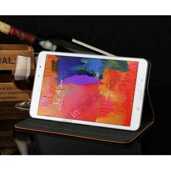 top quality Luxury Crazy Horse Texture Leather Stand Case for Samsung Galaxy Tab Pro 8.4 T320 - Coffee