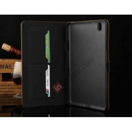 on sale Luxury Crazy Horse Texture Leather Stand Case for Samsung Galaxy Tab Pro 8.4 T320 - Coffee