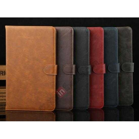 low price Luxury Crazy Horse Texture Leather Stand Case for Samsung Galaxy Tab Pro 8.4 T320 - Coffee