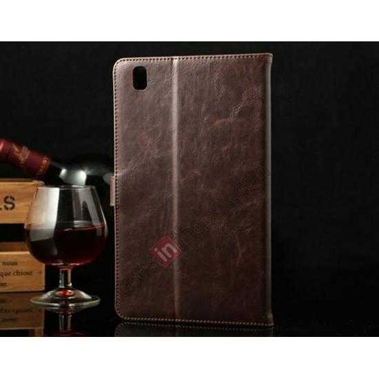 discount Luxury Crazy Horse Texture Leather Stand Case for Samsung Galaxy Tab Pro 8.4 T320 - Coffee