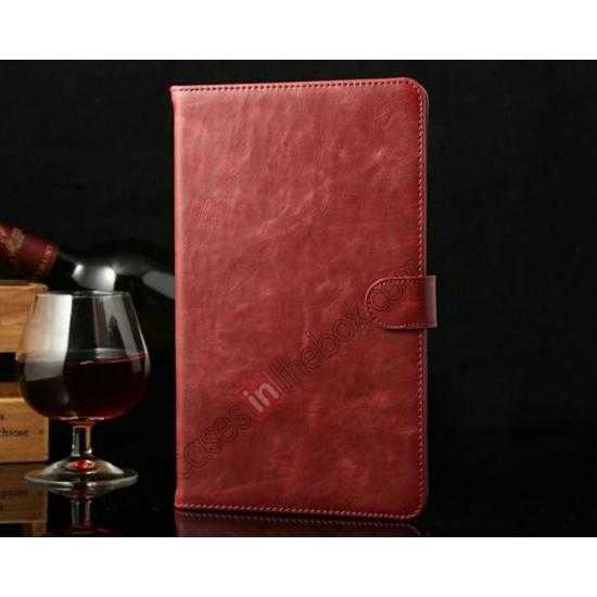 wholesale Luxury Crazy Horse Texture Leather Stand Case for Samsung Galaxy Tab Pro 8.4 T320 - Wine red