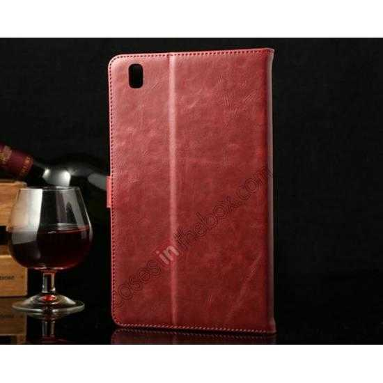 discount Luxury Crazy Horse Texture Leather Stand Case for Samsung Galaxy Tab Pro 8.4 T320 - Wine red