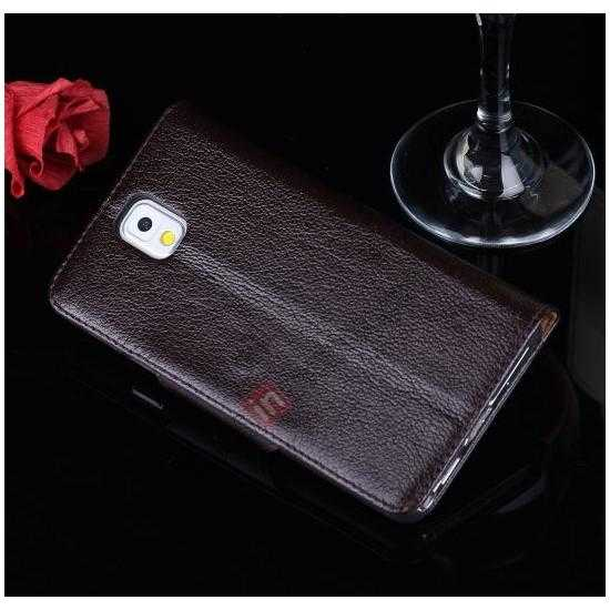 cheap Luxury Head Layer Cowhide Genuine Leather Case for Samsung Galaxy Note 3 III N9000 - Dark Brown