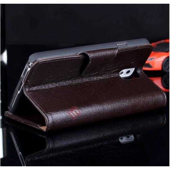 top quality Luxury Head Layer Cowhide Genuine Leather Case for Samsung Galaxy Note 3 III N9000 - Dark Brown
