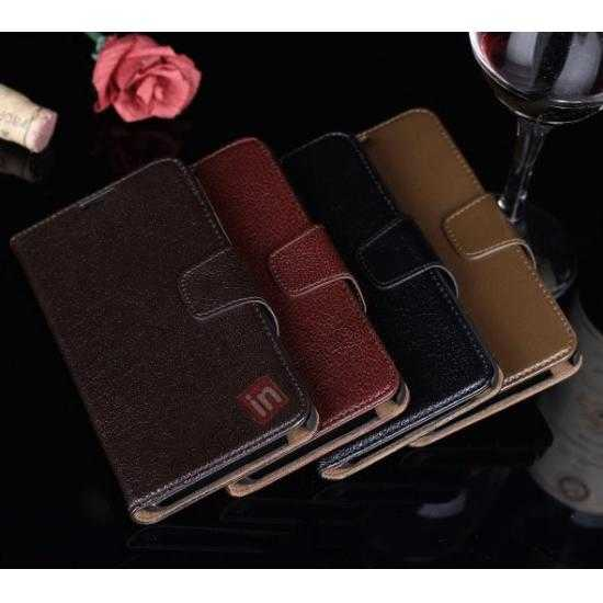 low price Luxury Head Layer Cowhide Genuine Leather Case for Samsung Galaxy Note 3 III N9000 - Dark Brown
