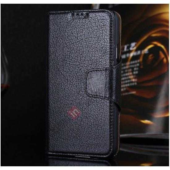 wholesale Luxury Head Layer Cowhide Genuine Real Leather Case for Samsung Galaxy S5 G900 - Black
