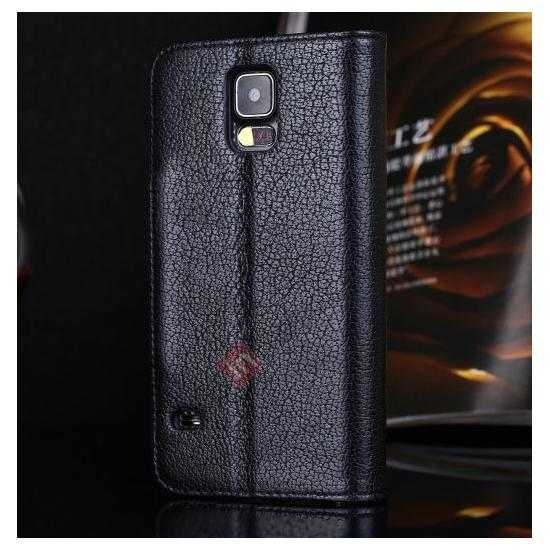 discount Luxury Head Layer Cowhide Genuine Real Leather Case for Samsung Galaxy S5 G900 - Black