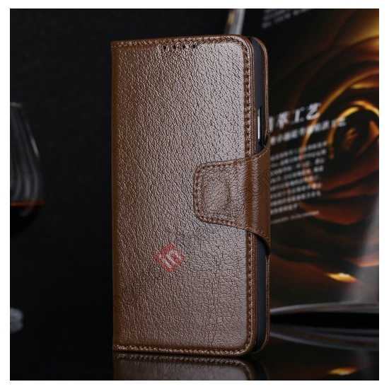 wholesale Luxury Head Layer Cowhide Genuine Real Leather Case for Samsung Galaxy S5 G900 - Brown