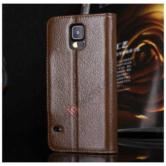 discount Luxury Head Layer Cowhide Genuine Real Leather Case for Samsung Galaxy S5 G900 - Brown