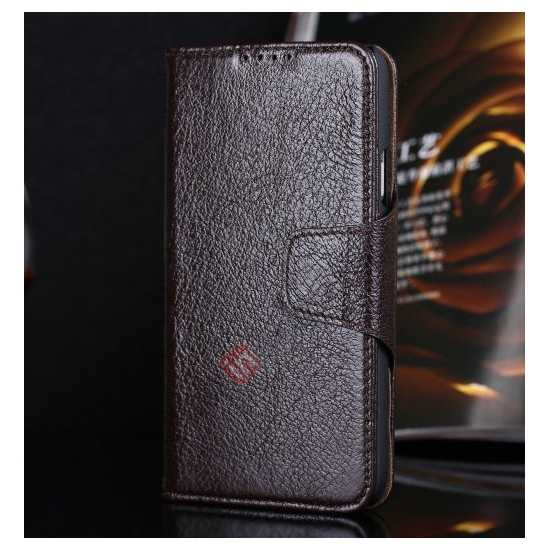 wholesale Luxury Head Layer Cowhide Genuine Real Leather Case for Samsung Galaxy S5 G900 - Dark Brown