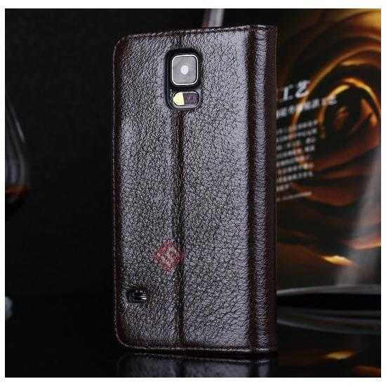 discount Luxury Head Layer Cowhide Genuine Real Leather Case for Samsung Galaxy S5 G900 - Dark Brown