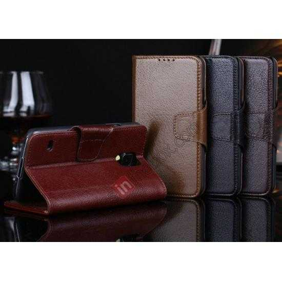 low price Luxury Head Layer Cowhide Genuine Real Leather Case for Samsung Galaxy S5 G900 - Dark Brown