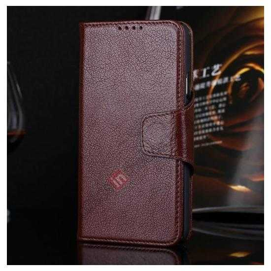 wholesale Luxury Head Layer Cowhide Genuine Real Leather Case for Samsung Galaxy S5 G900 - Wine Red