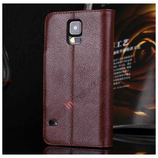 discount Luxury Head Layer Cowhide Genuine Real Leather Case for Samsung Galaxy S5 G900 - Wine Red