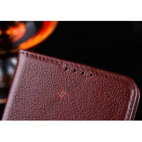 cheap Luxury Head Layer Cowhide Genuine Real Leather Case for Samsung Galaxy S5 G900 - Wine Red