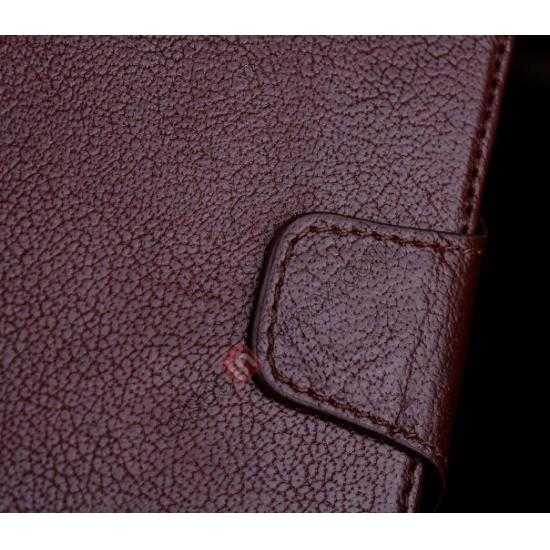 best price Luxury Head Layer Cowhide Genuine Real Leather Case for Samsung Galaxy S5 G900 - Wine Red