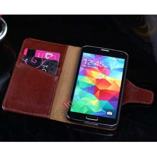 on sale Luxury Head Layer Cowhide Genuine Real Leather Case for Samsung Galaxy S5 G900 - Wine Red