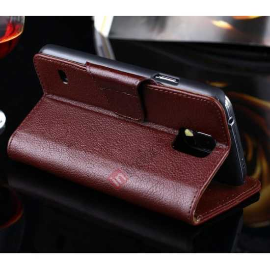high quanlity Luxury Head Layer Cowhide Genuine Real Leather Case for Samsung Galaxy S5 G900 - Wine Red