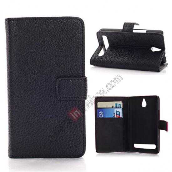 wholesale Lychee Skin Wallet Leather Case w/ Stand for Sony Xperia E1 - Black