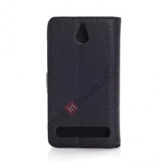 cheap Lychee Skin Wallet Leather Case w/ Stand for Sony Xperia E1 - Black