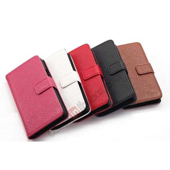low price Lychee Skin Wallet Leather Case w/ Stand for Sony Xperia E1 - Black