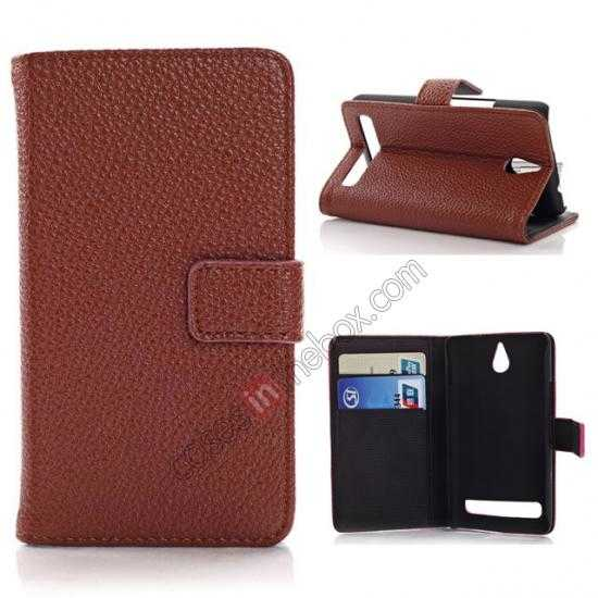 wholesale Lychee Skin Wallet Leather Case w/ Stand for Sony Xperia E1 - Brown