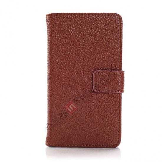discount Lychee Skin Wallet Leather Case w/ Stand for Sony Xperia E1 - Brown