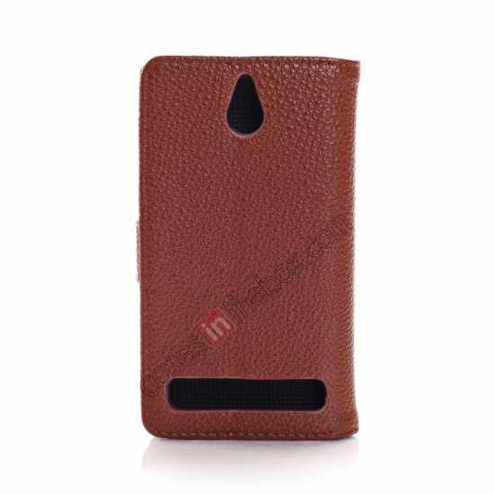 cheap Lychee Skin Wallet Leather Case w/ Stand for Sony Xperia E1 - Brown