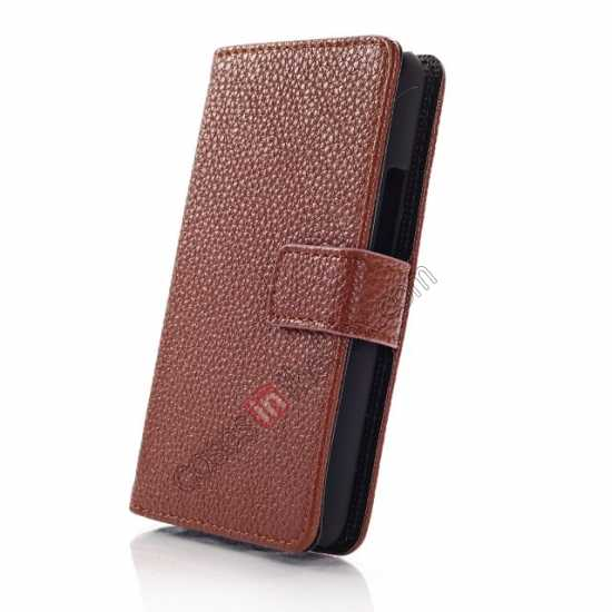 top quality Lychee Skin Wallet Leather Case w/ Stand for Sony Xperia E1 - Brown