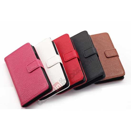 low price Lychee Skin Wallet Leather Case w/ Stand for Sony Xperia E1 - Brown