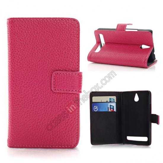 wholesale Lychee Skin Wallet Leather Case w/ Stand for Sony Xperia E1 - Rose