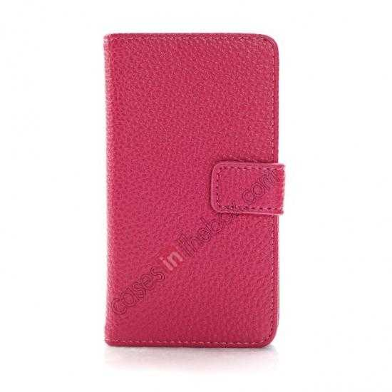discount Lychee Skin Wallet Leather Case w/ Stand for Sony Xperia E1 - Rose