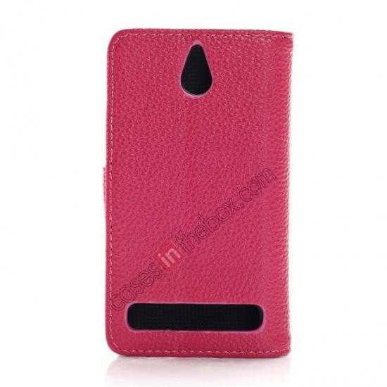 cheap Lychee Skin Wallet Leather Case w/ Stand for Sony Xperia E1 - Rose