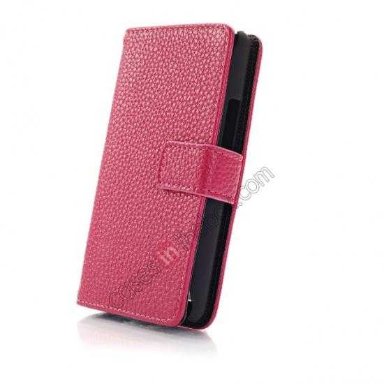 top quality Lychee Skin Wallet Leather Case w/ Stand for Sony Xperia E1 - Rose