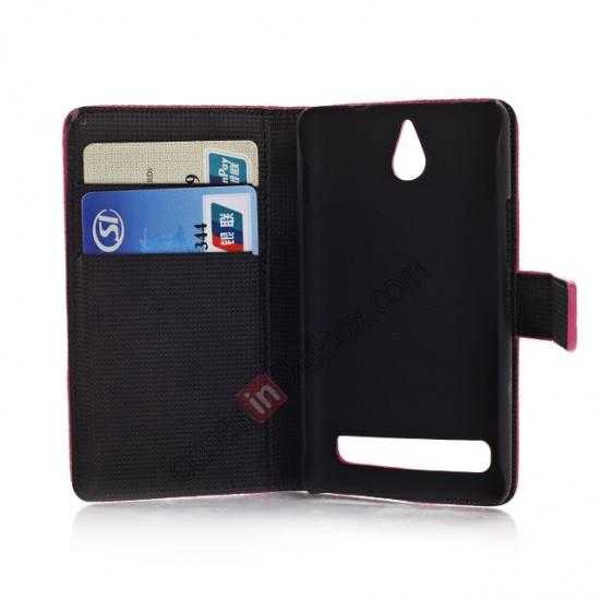 low price Lychee Skin Wallet Leather Case w/ Stand for Sony Xperia E1 - Rose