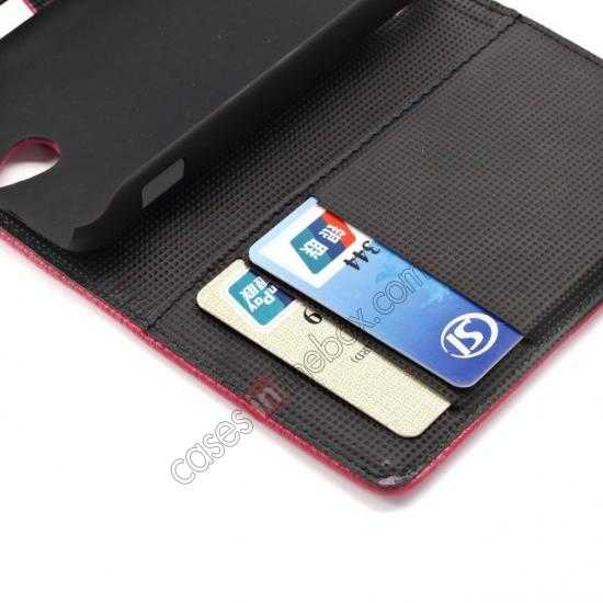 high quanlity Lychee Skin Wallet Leather Case w/ Stand for Sony Xperia E1 - Rose