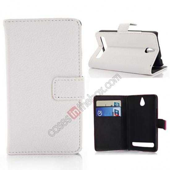 wholesale Lychee Skin Wallet Leather Case w/ Stand for Sony Xperia E1 - White
