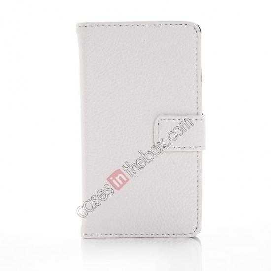 discount Lychee Skin Wallet Leather Case w/ Stand for Sony Xperia E1 - White
